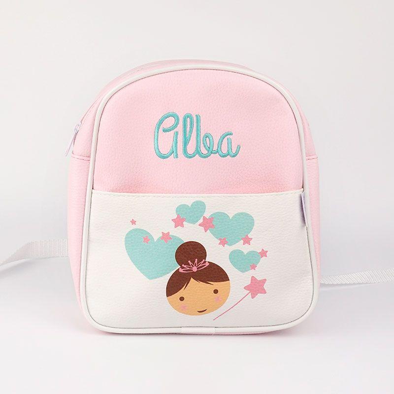 mochila hada rosa personalizada